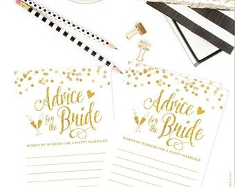 White & Gold Confetti Advice for the Bride Cards -DIY Printable File - Instant Download - White and Gold - Digital Glitter