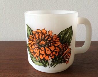 Vintage Glasbake Zinnia Flower Mug