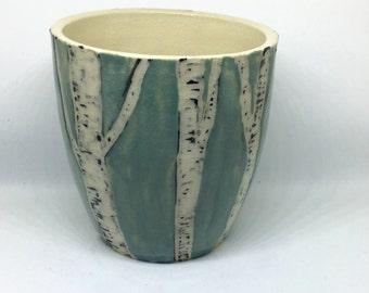 Ceramic Birch Tree Sgraffito Cup