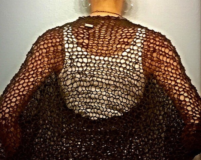 Chocolate Brown Lacey Loose Knit Bat Wing Sleeve Bolero Shrug Bohemian Light Weight Summer Knit in 100% Cotton