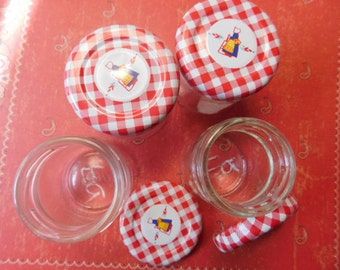 Set of Four Vintage Mini Jelly Jars