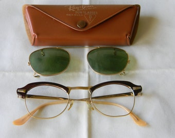 True Vintage Rare Bausch and Lomb eyeglasses, gold filled 1/10 12k GF 44-22 1950's.With Bausch and Lomb Ray Ban clip on sunglasses. USA.