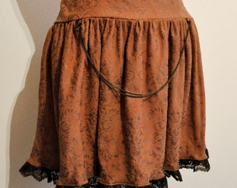 Skirt Steampunk leatherette brown