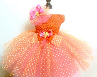 Orange & Peach Tutu Ready2Ship Perfect for: spring, Easter, OOC, pageabt wear, photo prop, birthday tutu, (hat sold separately)