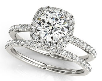 Forever One Moissanite Diamond Engagement Ring in 14k White Gold Set - OV42905  Certified Appraisal