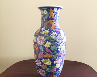 Chinese Vase, 12 Inch Vintage Chinese Import Vase, Hand painted, Blue, Pink, Green, Decorative Asian Decor