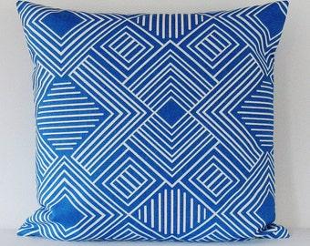 Cobalt Royal Blue Geometric Pillow Cover Decorative Throw 16x16 18x18 20x20 22x22 12x16 12x18 12x20 14x22 Lumbar Sofa Couch Cushion Zipper