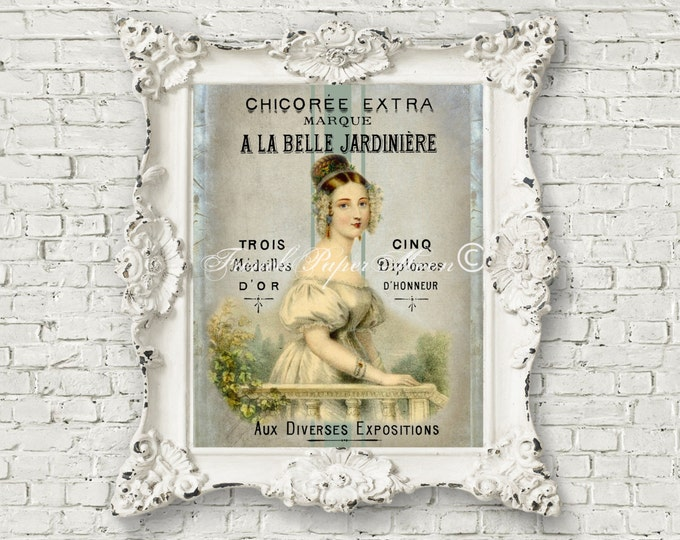 Digital Edwardian Lady, Vintage French Graphics, French Pillow Graphic Transfer Printable Image, iron On fabric