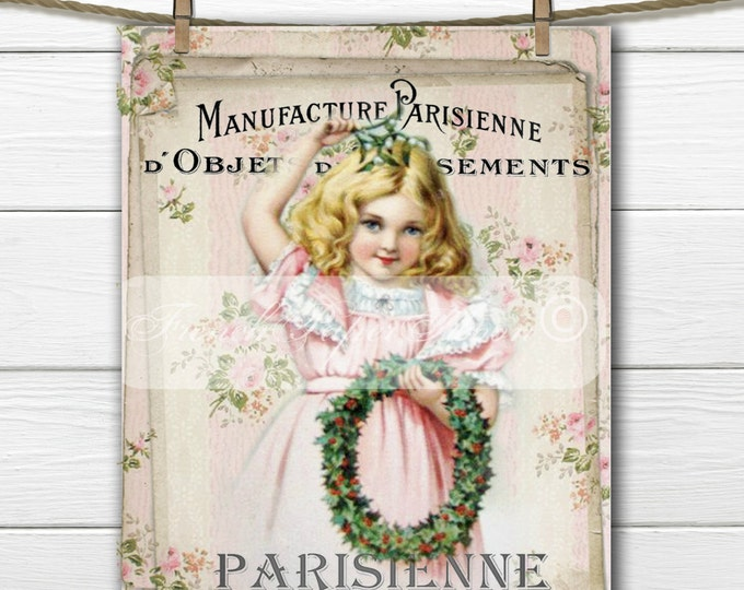 Shabby Chic Vintage Girl with Christmas Wreath, French Graphics, French Pillow Transfer, Printable Christmas Graphic