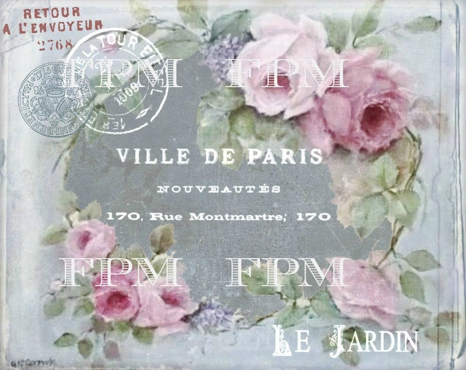 Vintage Digital French Shabby Chic Roses, Paris Download, Pink Digital Roses, Chalkboard