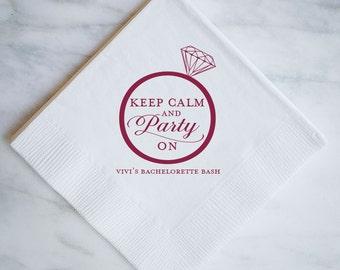 "Personalized ""Keep Calm and Party On"" Bachelorette Napkins - Set of 100, Custom Printed Bachelorette Party Napkins, Personalized Napkins"