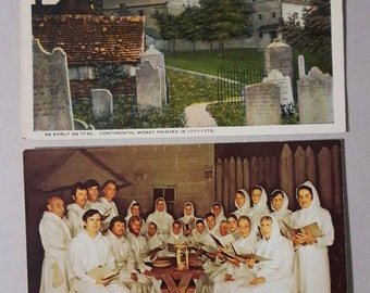 Ephrata Cloisters 2 postcard lot PA Pageant Printing Presses cemetery graveyard