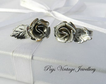 Vintage Silver Tone Rose Flower Earrings/Clip On Rose Earrings