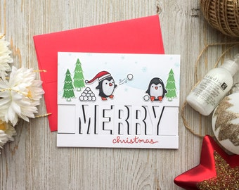 Funny Christmas Card - Handmade | Holiday Card | Happy Holidays | Penguin | Merry Christmas | Christmas Cards | Cute Christmas Card | Baby