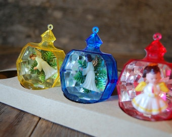 3 plastic Jewel Brite faceted ornaments - angels - set of 3D Chrsitmas tree decorations