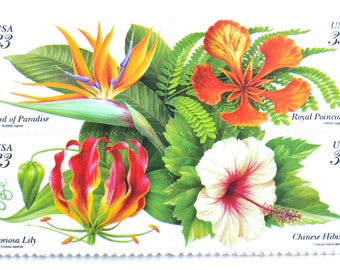 Unused Tropical Postage Stamps // Tropical Flowers // For Mailing Florida; Island; Beach Destination Wedding Invitations