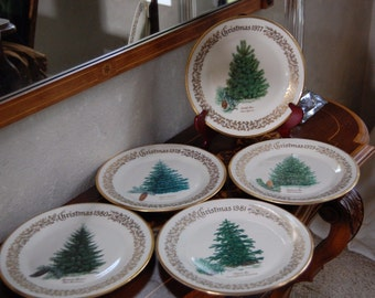 5 Lenox LE CHRISTMAS TREE 24kt Gold Plates/In Boxes 1977/1978/1979/1980/1981