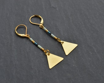 "Earrings ""delta"" composed of beads miyuki delicas (Japanese Pearl)"