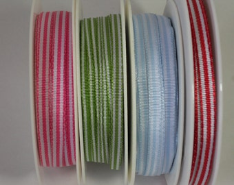 Quality Woven 5mm Candy Striped Ribbon by the metre, Choice of Colours