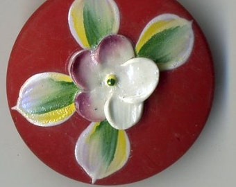 Hand painted Czech glass button red with dainty flower  - size 12, 27 mm FCB 1147