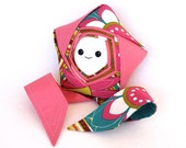 Shooting Star Buddy - One of a Kind Unique Origami Star – Pink and White Handmade Reclaimed Fabric Plush