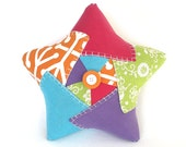 Patchwork Star Pillow – Handmade One of a Kind Reclaimed/Vintage Fabric Star
