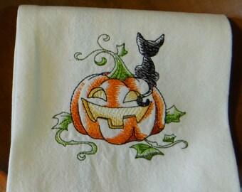 Jack o' Lantern Black Cat Halloween Tea Towel Kitchen Towel Dish Towel
