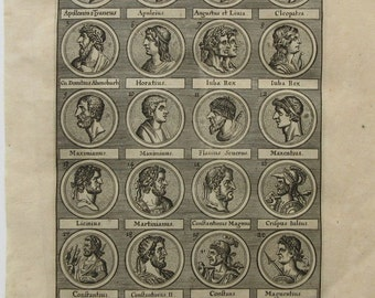 1702 Portraits of famous historical  Leaders popular people original engraving