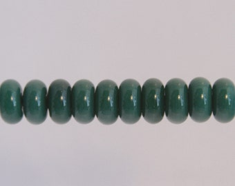 Green Lampwork Glass Bead Spacers Donut MADE TO ORDER