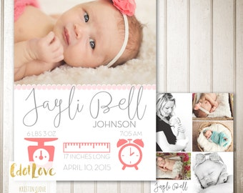 Modern Style Baby Announcement  CUSTOMIZABLE Digital Print 5x7