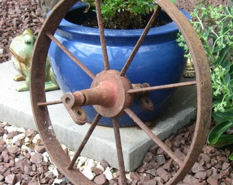 "Antique Iron Farm or Industrial Wheel, 15 1/2"" diameter, Yard Art, Garden Decor"