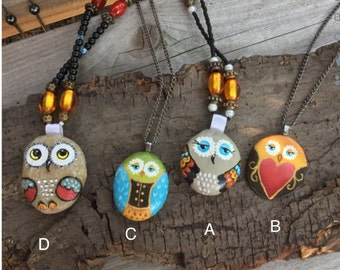 Hand Painted Stone Owl Necklace, Owl Jewelry, Retro Owl Necklace, Cute Owl Necklace, Stone Owl,