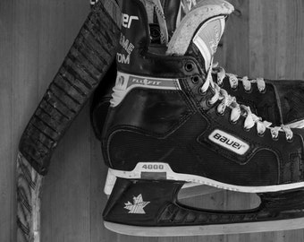 Hockey decor, Hockey art, Sports decor, Boys room wall art, Hockey skates, Canvas art, Kids room, Black & white sports art // Hockey skates