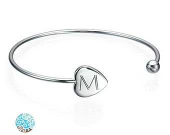 Engraved Bangle in Sterling Silver 0.925 Adjustable - Personalized