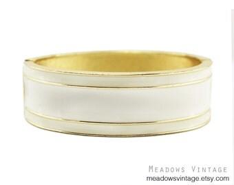White Enamel Bracelet, White and Gold Bracelet, Wide White Bracelet, White Clamper Bracelet, White Hinged Bracelet, Chunky Enamel Bracelet