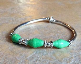 Recycled Magazine Bead Bracelet - Seafoam Green