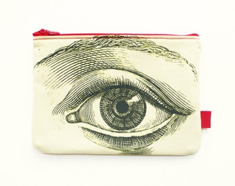 Eye Pouch. Fabric Purse. Pencil Case. Sewing Kit. Makeup Pouch.