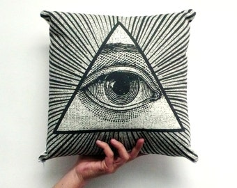 Illuminati Pillow Cover. Illuminati. Decorative Pillow. Organic Cotton Pillow. Insert not included