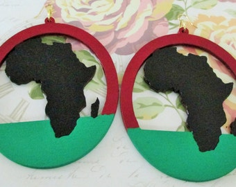 Red, Black, & Green Africa Earrings (Extra Large)