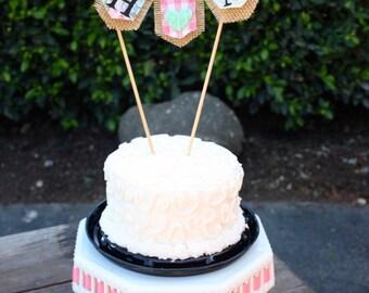 Custom CAKE TOPPER bunting mini-banner flag...wedding, celebration
