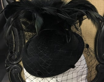 Vintage inspired black feather tulle oval hat fascinator