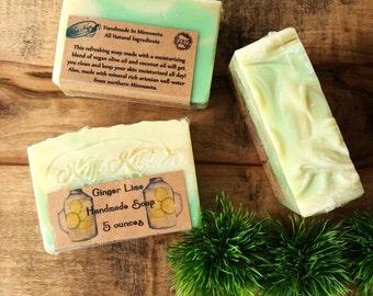 Ginger Lime Soap, Ginger Soap, Vegan Soap, Kitchen Soap, Vintage Style Soap, Mason Jar Style, Lemon Soap, Citrus Soap, Lime Scented Bar Soap