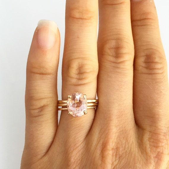 Morganite Hammered Gold Engagement Ring- 14k Gold Oval Morganite Thin  Hammered Bands Stacking Rings