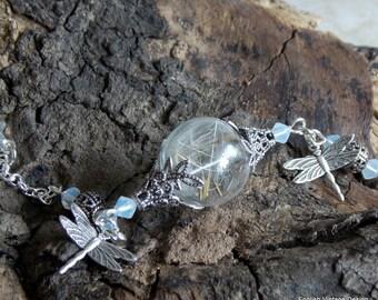 Dandelion Bracelet, Dandelion & Dragonfly Bracelet, Dandelion Jewelry, Vintage Style Bracelet, Glass Orb Bracelet, Victorian Style Bracelet