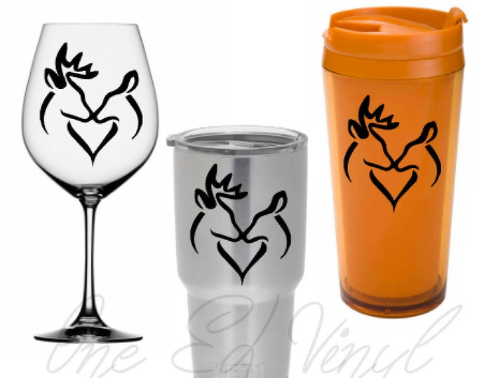 Buck Doe Heart DIY Decal - Vinyl Decal for Yeti Cups, Tumblers, Wine Glass, Mugs, Vehicles, Laptops ... Glass NOT Included
