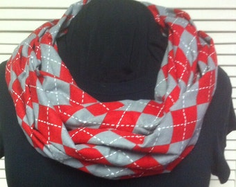 Red and Gray Argyle Plaid Cotton Flannel Infinity Scarf