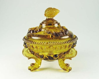 Bayel Portieux Vallerysthal France Amber Argonaut Footed Covered Candy Dish Dolphins Serpents
