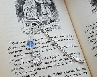 Alice in Wonderland bookmark, white rabbit charm, blue & clear beads, vintage style book mark