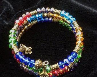 Rainbow memory wire bracelet, made from sparkling crystal beads