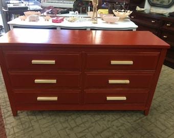 Red DRESSER six drawer shabby chic